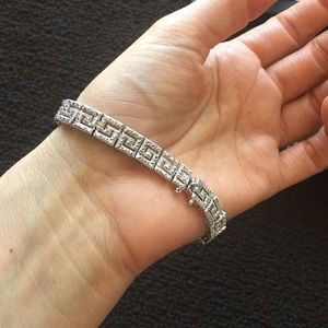 Bracelet Diamond accent silver plate